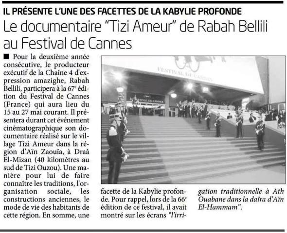 Tizi-Ameur au festival de Cannes. Le RADAR  DE LIBERTE - Vendredi 9-Samedi 10 mai 2014